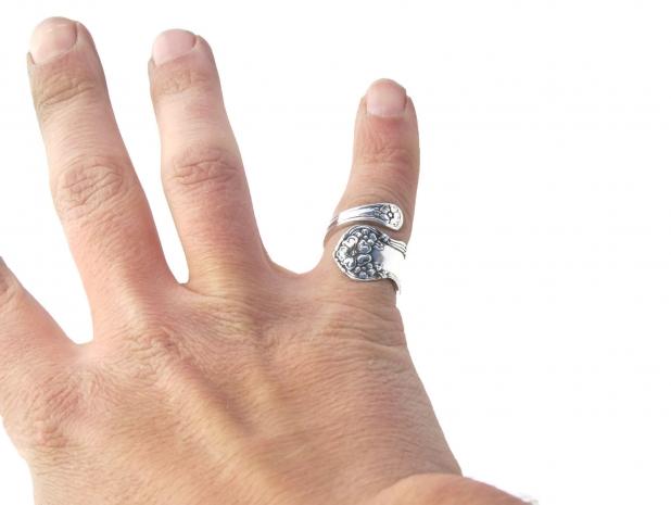 Arbutus Demitasse spoon ring on hand