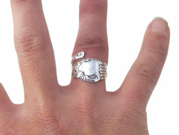 Spoon Ring Pequot On the Hand