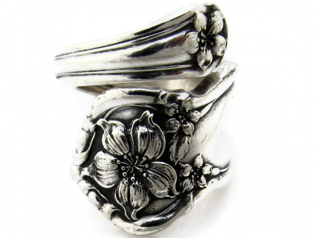Orange Blossom Wrapped Spoon Ring Front View