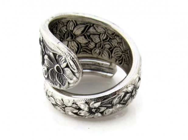 Narcissus Wrapped Spoon Ring Size 7 Side View