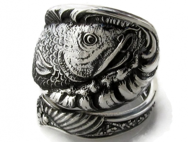 Spoon RIng Fish Sterling Silver