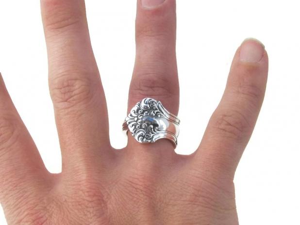 Spoon Ring Avon D Monogram on the Finger