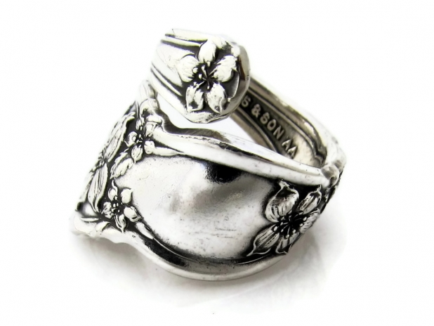 Orange Blossom Wrapped Spoon Ring Side View