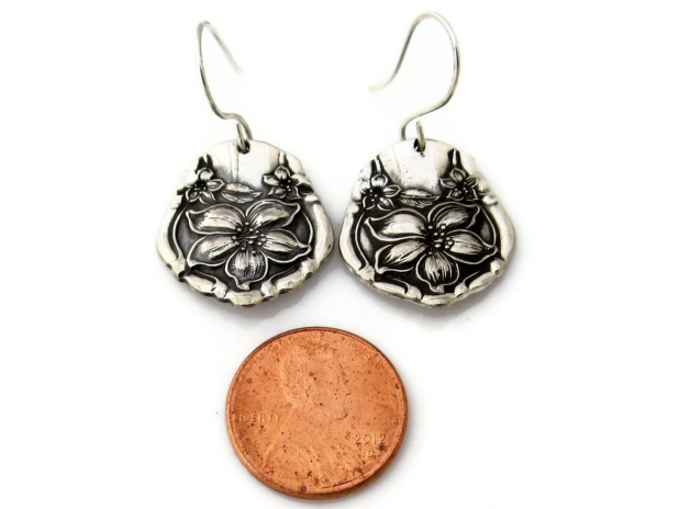 Orange Blossom Spoon Earrings With Size Reference