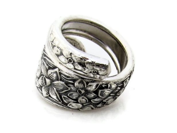 Narcissus Wrapped Spoon Ring Size 7