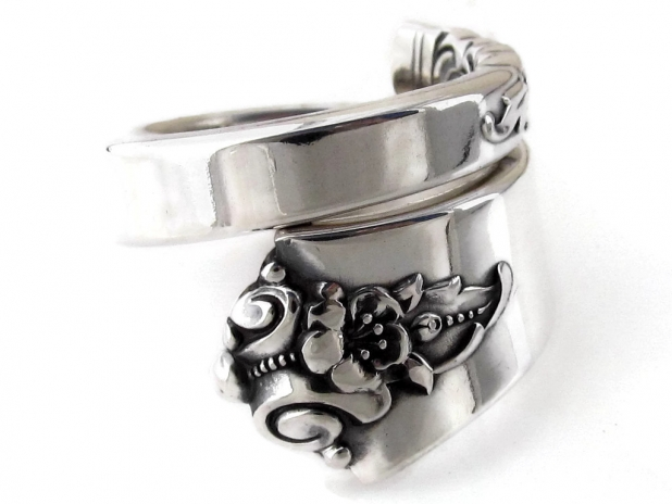 Castle Rose Sterling Silver Spoon Ring