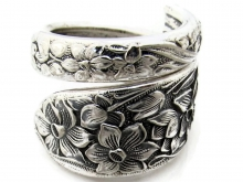 Narcissus Wrapped Spoon Ring Size 7 Front View